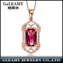 Hot!Emerald Cut Pink Tourmaline Pendant Necklace In 18K Solid Gold plating For Sale