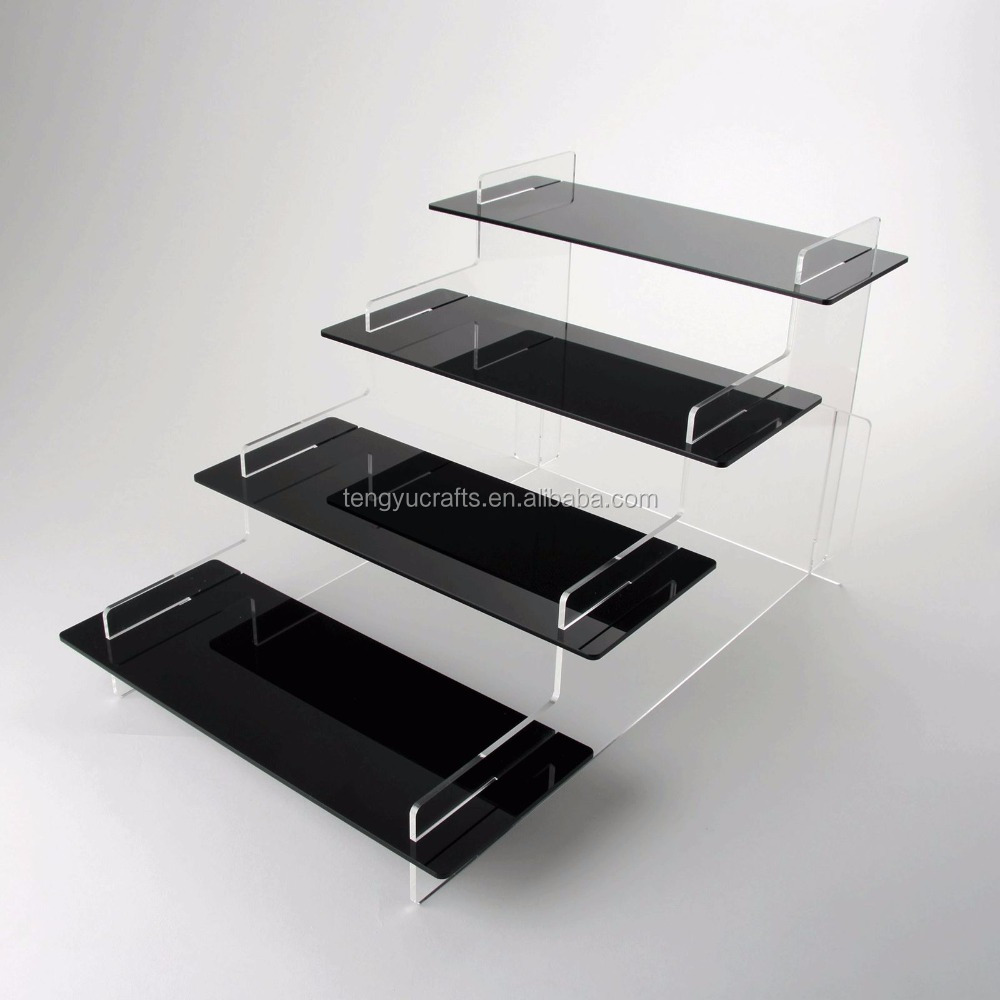 Tengyu New Product Clear Black Nail Polish & Cupcake 4 Step Acrylic Display Stand for retail store shop, home, bedroom