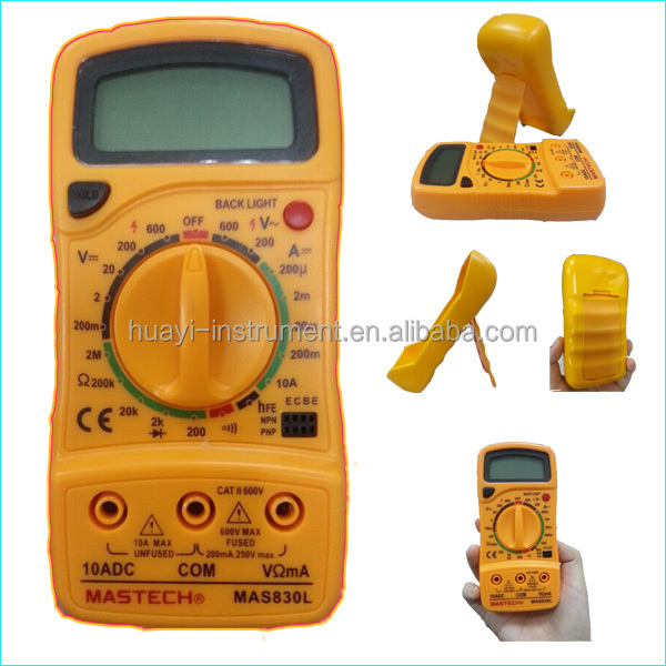 Yellow Palm Size AC and DC Digital Multimeter Mastech MAS830L with Backlight