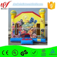 Delightful colors and exquisite workmanship inflatable bouncer with basketball hoop W1402