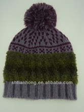 Special Custom Patterns Comfortable Breathable Knitted Fashion Brim Winter Lady Hats With Pom Pom