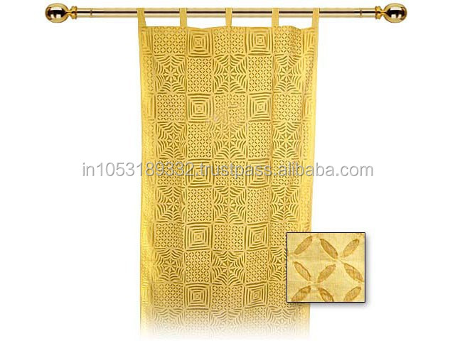 Window and door curtain with organdy cutwork