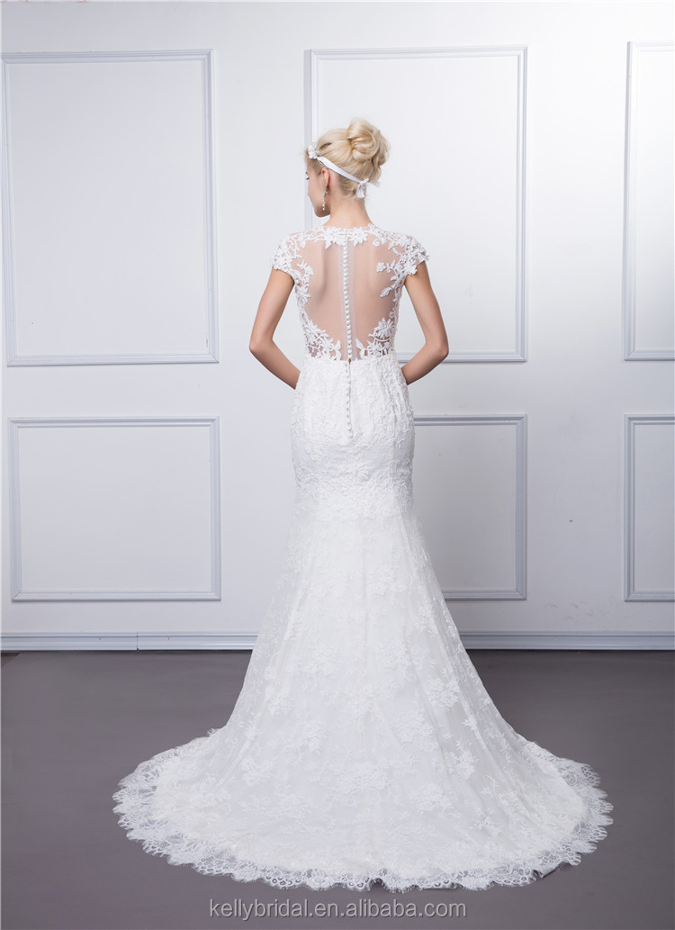 Beaded lace balckless mermaid wedding dress with fishtail