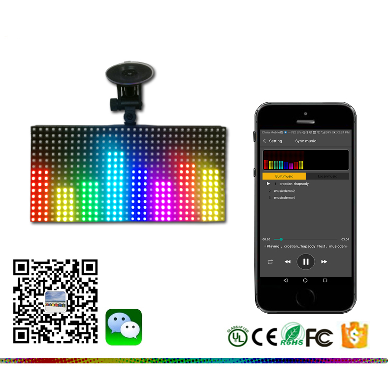 <strong>128</strong> X 256mm Full color wireless blue tooth App with painting panel drawing,text LED car sign LED shop sign
