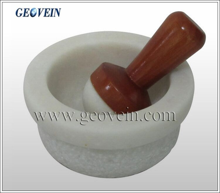 Kitchen accessory natural granite mortar and pestle with polished surface