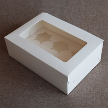 Cake package white 6 pieces cupcake boxes muffin bakery boxes dessert gift packing