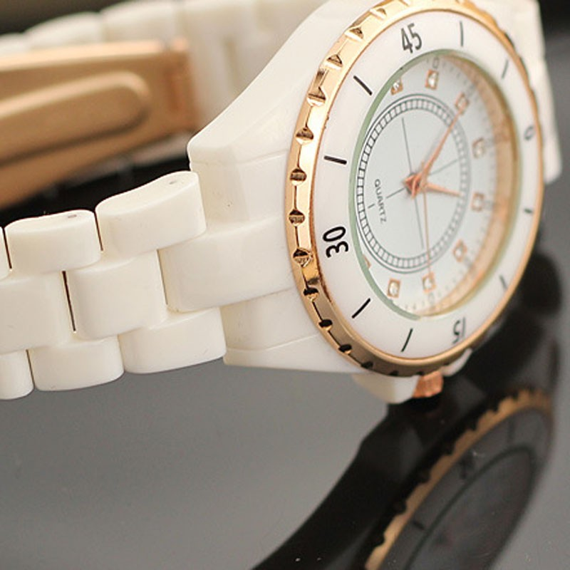 Top quality white rhinestone student watch silicon bracelet lady watch