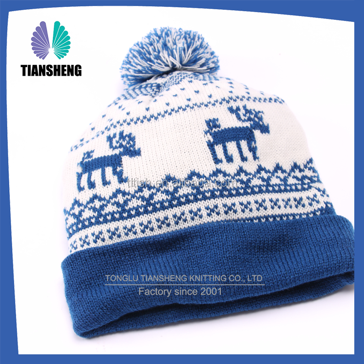 2016 Custom teenagers pom pom knitted beanie cap