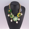 Women Party Dress Accessories Resin Crystal Necklace Chain Jewelry gold chain pearl flower finding necklace SN-030