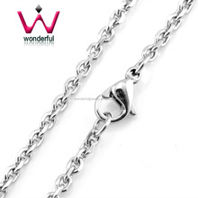 Silver Rolo (cable) Link Chain Stainless Steel Circle Rolo Chain Necklace Chain With lobster clasp Export To USA Seller