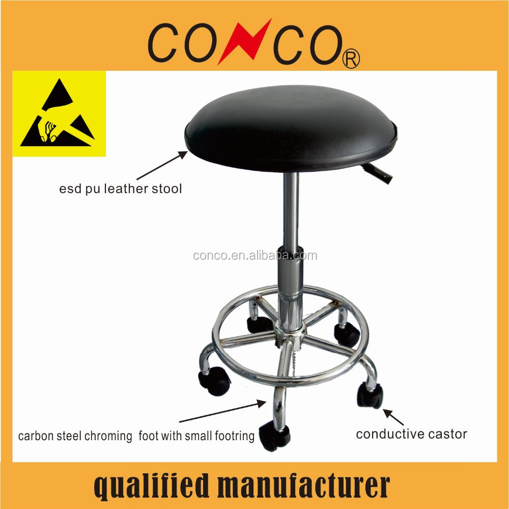 ESD working chair without backrest PU leather stool