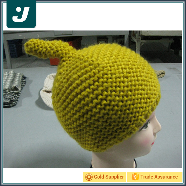 Latest product fashion cute fancy yellow knitted beanie hat
