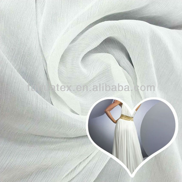 high twist polyester white pleated chiffon fabric
