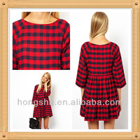 2014 Long Sleeve Check print Smock Dress for women HSD6017