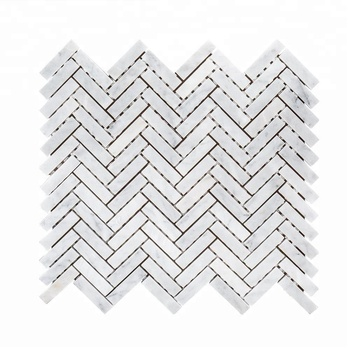Decorstone24 Herringbone Design Kitchen Backsplash Carrara Marble Tiles White Mosaic Honed