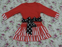 girls ruffle dresses baby boutique clothing wholesale red and white stripe ruffle dresses with polka dot sash