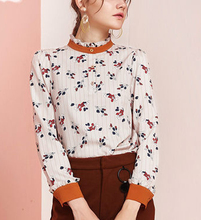 Fashion Floral Print Pullover Shirts Frill Hem Collar Cuff Contrast Color Women Blouses