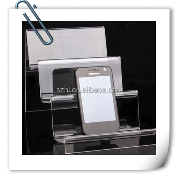 New Products Acrylic Clear Custom Mobile Phone Display Racks S6 Case Mobile Phone Charger Display Stand