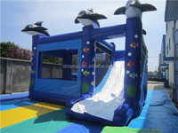 Lovely Dolphin sea cheap bounce house with slide for children