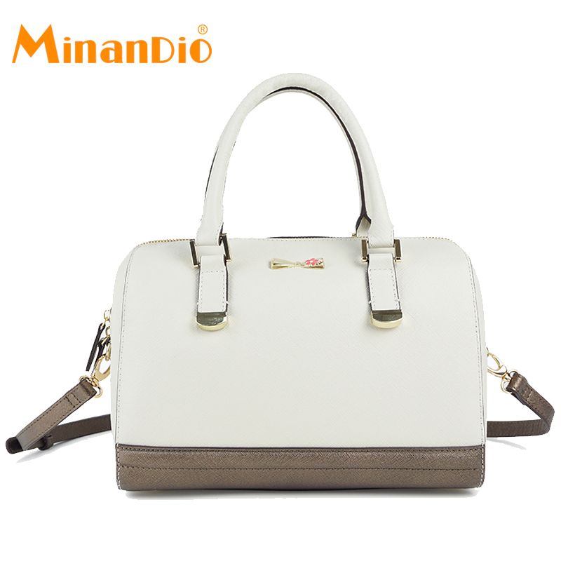 MINANDIO China new handbag design white hard bag ladies genuine leather handbag for Europe