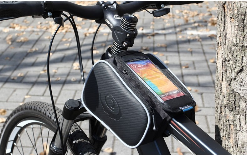 Innovative New Product ROSWHEEL Bicycle Pannier Front Tube Bag Double Pouch for iphone 6/6S with zipper