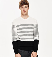 Wholesale Round Neck OEM Striped Knit Jumper Men Sweater