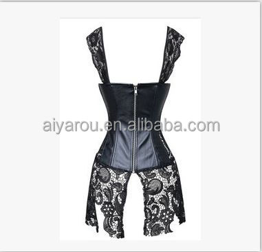 New Arrival Women Steampunk Leather Waist Training Lace up Bustier Top Corset