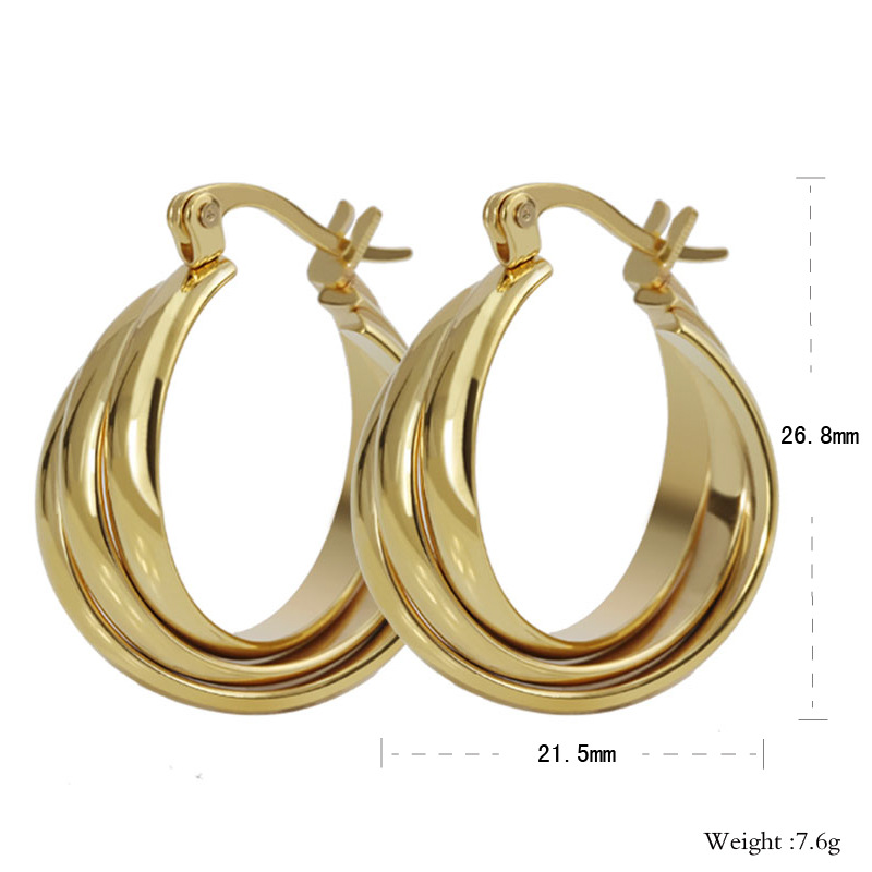 POYA Jewelry Stainless Steel Three - Layer Plated Gold Snti-Allergic Earring Jewelry
