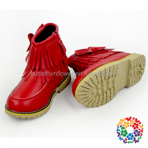 cheap wholesale kids shoes girls warm winter red leather short boots