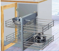 Kitchen cabinet cabinet designs drawer basket Guangzhou Comercial kitchen wire storage rack magic corner pull out basket