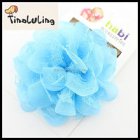 Wholesale crochet flower elastic chiffon baby headbands 1.5cm hair accessories