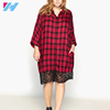 YIHAO wholesale double shirt ladies dresses with black lace Red Long Sleeve Lapel Grid Plaid Blouses shift dress