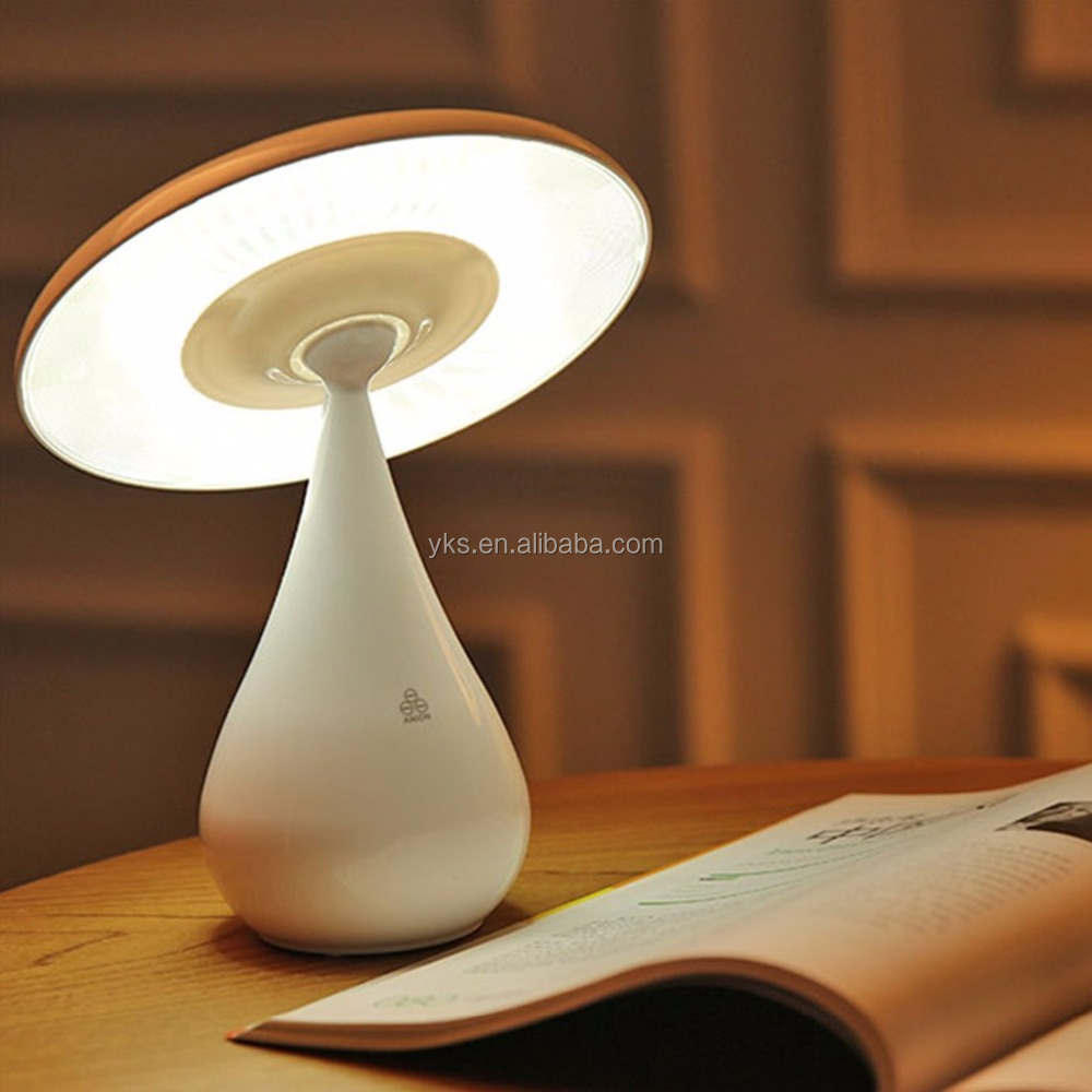 YIKESHU Bedside Table Reading Lamp with USB Air Purification Anti-radiation Eye-Protection LED Lamp Mushroom