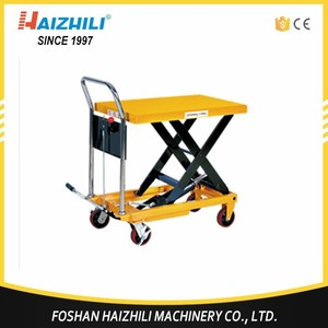 China supplier 350kg high manual trolley hydraulic light weight lift table performance