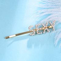 Gold Plated Alloy Faux Pearl Sexy Letter Hairpins Barrettes Bobby Pins For Women Hair Accessories