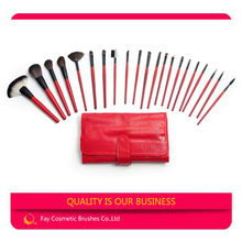 21pcs personalized makeup brush belt with red leather pouch