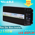 2014 HOT High Quality 2500W 12V/24V/48V DC To 120V/220V AC Pure Sine Wave Power DC To AC LED Display Inverter from Yueqing