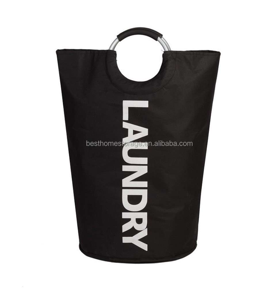 Polyester Collapsible Laundry Hamper Tote Basket Bag with Rings