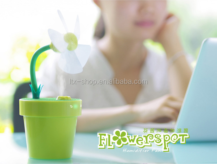 New Arrival MIni Flowerpot Humidifier, USB Household Mist Spray Fan Air Purifier