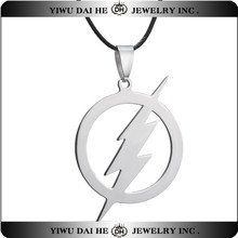 Flash Lightning 316L Stainless Steel new arrive Necklaces Fashion Pendant necklace for women Men jewelry black leather chain