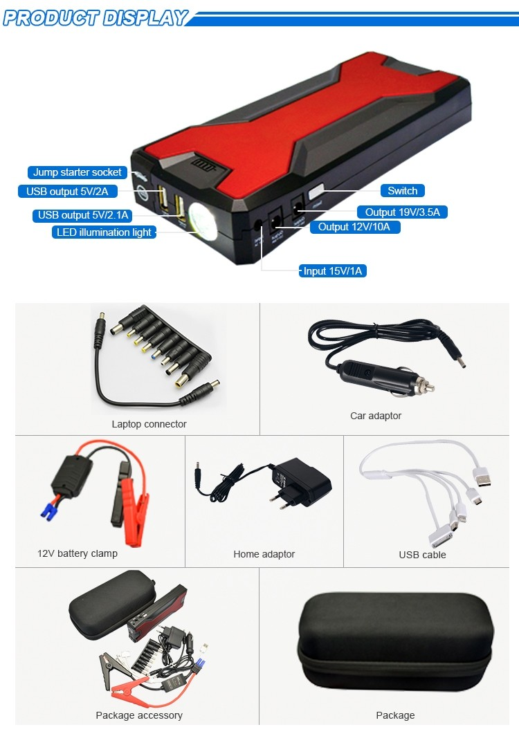 New 20000mah Multi function Mini Jump Starter Personal Power Supply Portable Power Bank Mini Jump Starter fro cars laptop phones