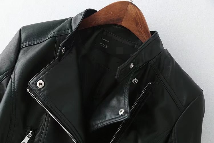 2017 High quality fashion long sleeves women leather coat,leather jackets womens
