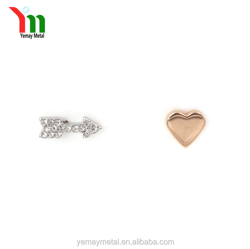 2017 Latest Fashion Love Gold Plating Color Cupid Arrow Stud Earrings Crystal Heart Rosegold Designs For Girls