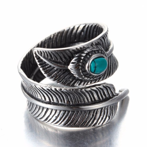 925 Sterling Silver Plated Men Vintage Feather With Blue Stone Biker Rocker Feather Adjustable Ring