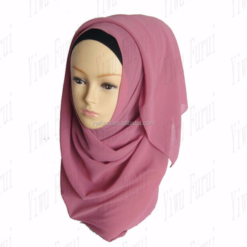 Muslim Plain Chiffon Scarf Pure Color Big Size Hijab Scarves 180*70cm Women Head Wraps