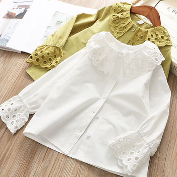 Children Girl Clothing Spring Baby Girls Cotton Blouse White Bottoming Shirt Long Sleeve Girl Shirt Kids Tops New