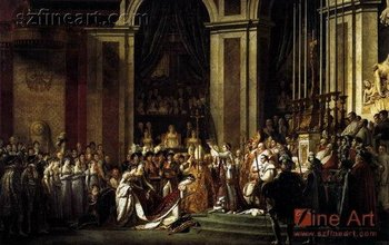 Famous painting of The Coronation of Napoleon by artist Jacques-Louis David