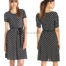 Small Polka Dot Printed O Neck Short Sleeve Binding Elegant Evening Dresses For Women Party Dresses Evening