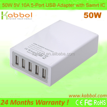 Latest 5V/10A 5-Port USB Travel Charger for smart phone and tablet and Andorid devices