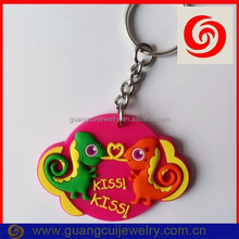 Fashion soft pvc chameleon kiss keychain key ring